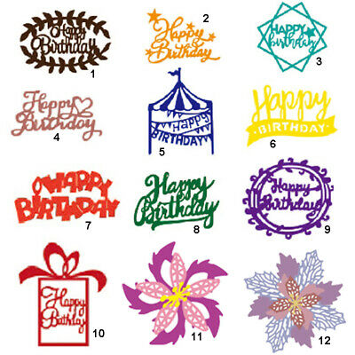 Happy Birthday Cutting Dies Metal Stencil DIY Scrapbook Album Paper Card Letter