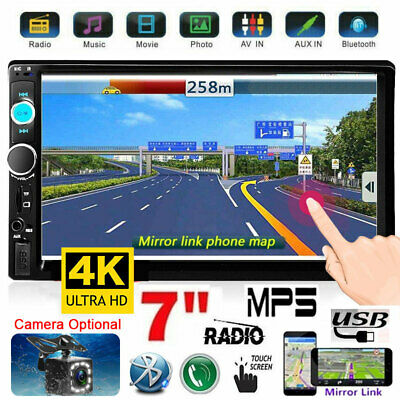 "7"" 2 DIN Car MP5 Player Bluetooth Touch Screen Stereo Radio+Camera Mirror Link"