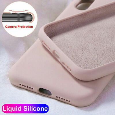 For iPhone 11 Pro XS Max XR 8 7 6s Plus Liquid Silicone Simple Color Case Cover