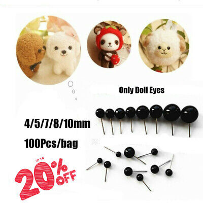 Bears Needle Felting Dolls Accessories Animals Puppets making Black Glass Eyes
