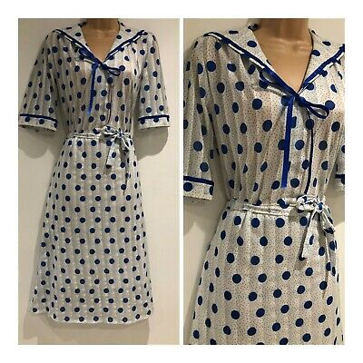 Vintage 80s White & Blue Polka Dot Stripe Sailor Collar Belted 40's Tea Dress 14