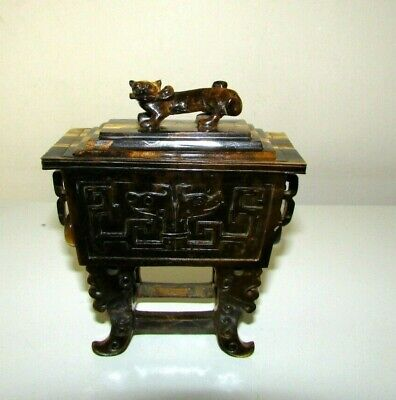 ANTIQUE 20th c CHINESE TIGER'S EYE CARVED INCENSE BURNER CENSER ARCHAISTIC STYLE