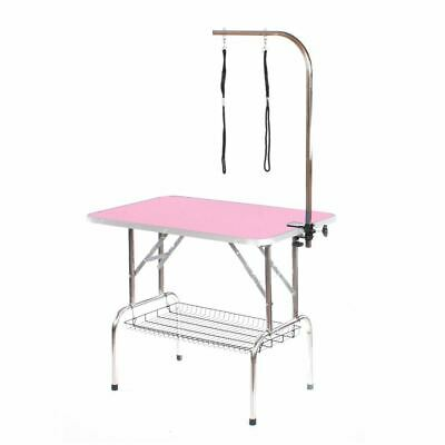 Stainless steel dog grooming table large portable mobile pink by Pedigroom