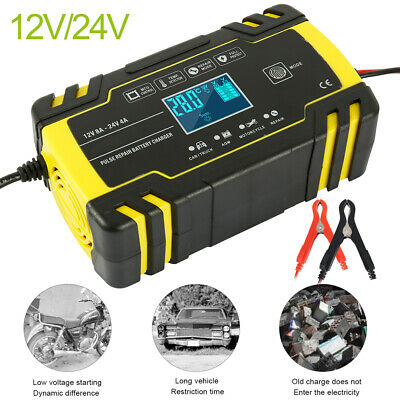 12V/24V Automatic Electronic Car Battery Charger Fast/Trickle/Pulse Modes UK