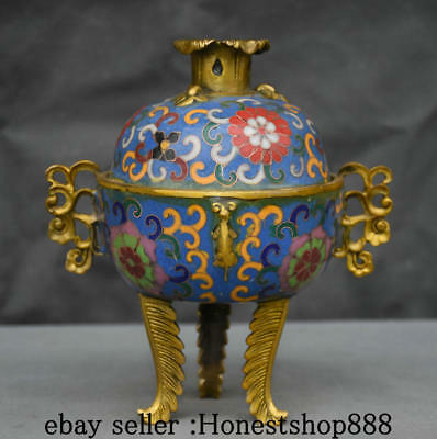 "7"" Old Chinese Palace Cloisonne Bronze Gilt Flower Handle incense burner Censer"
