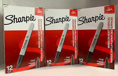 NEW ORIGINAL Sharpie BULK LOT 36 Permanent Markers Fine Point Black FREE SHIP!