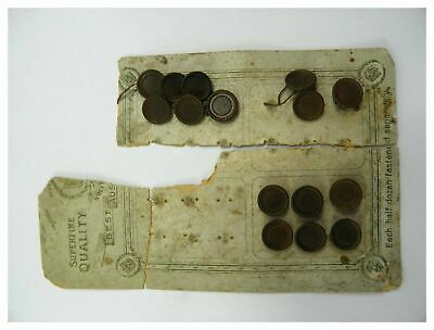 Antique collection of 15 brown bakelite buttons on original card