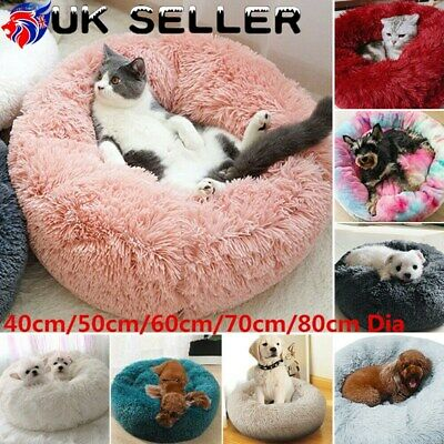 Warm Plush Round Nest Calming Bed Comfy Sleeping Kennel for Small Pet Dog Cat UK