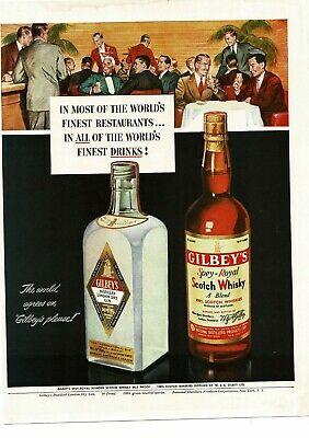 1950 GILBEY'S Gin Scotch Whisky art Vintage Ad
