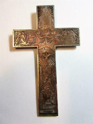 ANTIQUE FRENCH SILVER & GOLD LARGE ORNATE CROSS, CRUCIFIX PENDANT c1898 - 49g!!