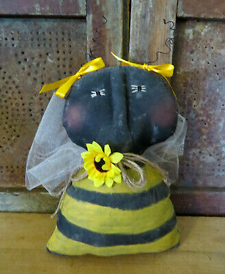 Grubby Primitive Sunflower Honey Bee Artist Made Distressed Rag Doll OOAK