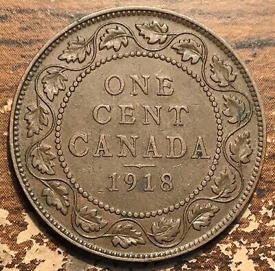 1918 Canada One Cent King George V Coin