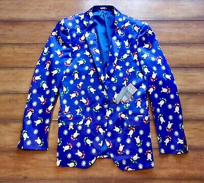 SUSLO COUTURE ~ New! NWT Size 38  Tailored Christmas Holiday Suit Blazer Penguin