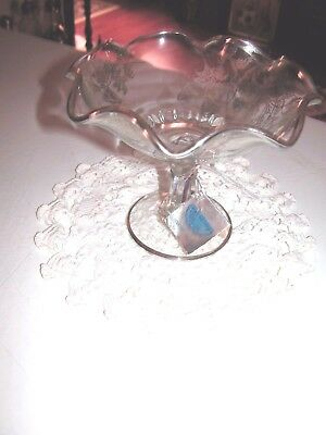 Lovely Fancy Crystal Sterling Silver Overlay Footed Compote/Bowl