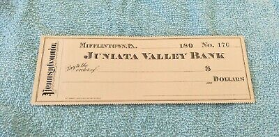 RARE! 1890s JUNIATA VALLEY BANK MIFFLINTOWN BLANK WILD WEST BANK CHEQUE!