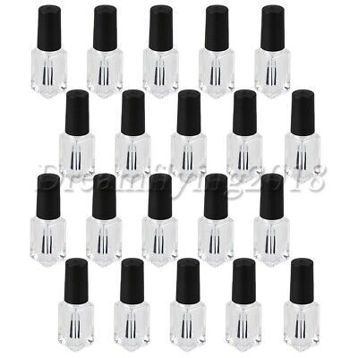 20x Clear Glass 4ml Refillable Nail Empty Polish Bottles Container Black Cap