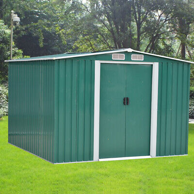 New Garden Shed 6FT X 8FT Metal Apex Roof Outdoor Storage with FREE Foundation