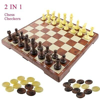 "Fixget 2 in 1 Chess Set - 12""x12"" Hand-Carved Wooden Chess and Checkers set w..."