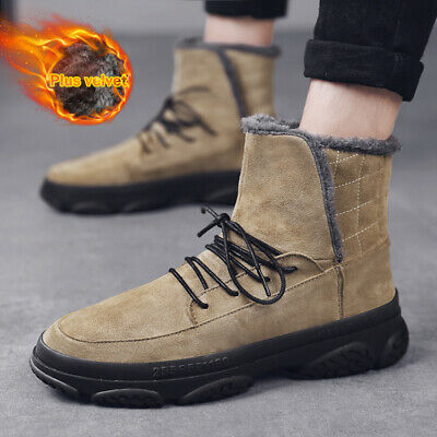 Thicken Fur Snow  Boots Mens Cotton Ankle Boots Winter Warm Plush Inside Shoes