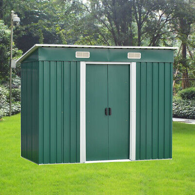New 8x4ft Garden Shed Metal Pent Roof Outdoor Storage With Free Foundation Green
