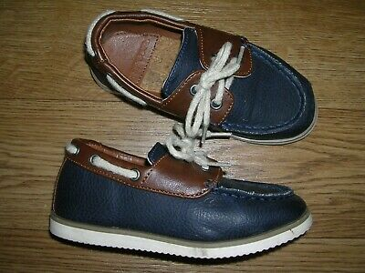 RIVER ISLAND Boys Blue Brown Leather Shoes Trainers UK 8 Eur 25