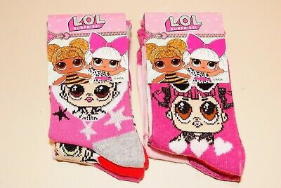 Girls Lol Surprise Dolls 3 Pack Glitter Socks 3 Sizes 3 Pairs New
