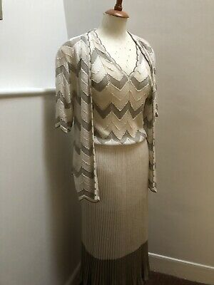 True Vintage Retro 1990s Knitted Dress Suit By Medici. Size 10/12