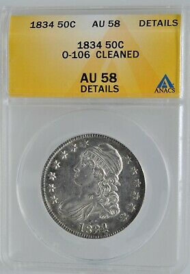 1834 Capped Bust Half Dollar High Grade ANACS AU 58 Details Investment Coin