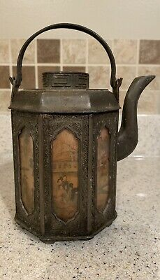 Antique Asian Japanese Chinese Mixed Metal Pitcher with Multiple Panel Scenes