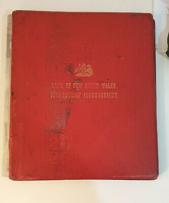 VINTAGE Bank Book Binder Bank of NSW Inspectors' Instructions