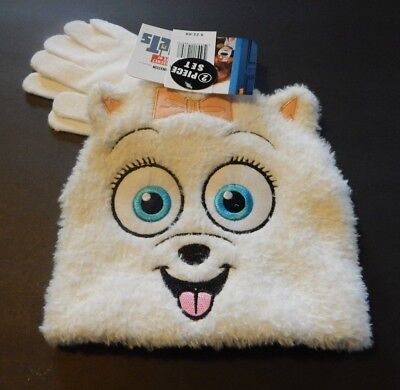 GIRLS ONE SIZE SECRET LIFE OF PETS HAT AND GLOVES SET NEW NWT #4637