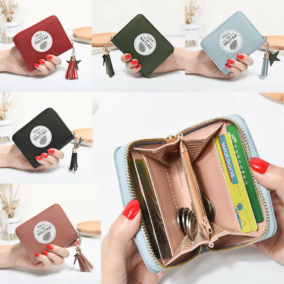 Women's Short Small Mini Wallet Lady Leather Zipper Coin Card Solid Money Purse