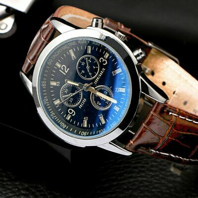 Men's Leather Military Casual Analog Quartz Wrist Watch Business Watches Gifts L