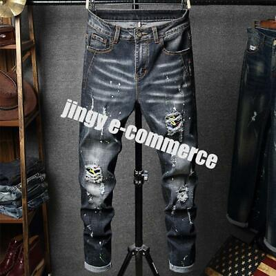 Men Denim Ripped Jeans Pants Boys' Skinny Rock Pants Trousers Punk Loose Fashion