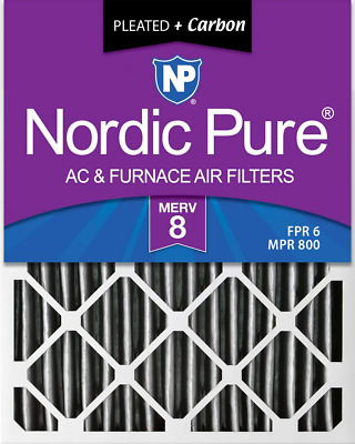Nordic Pure 16x24x2 MERV 8 Pleated Plus Carbon AC Furnace Air Filters, 12 PACK,