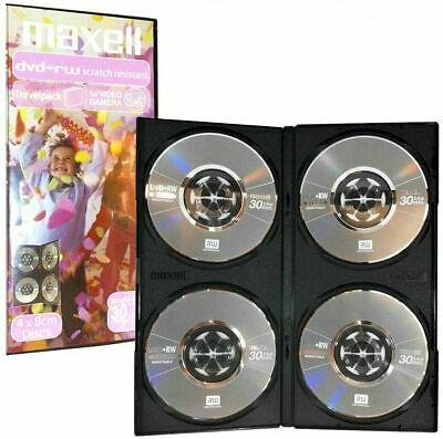 DVD+RW, Pack of 4, 8cm discs, 1.4Gb, 30 minutes video, Maxell Travelpack.