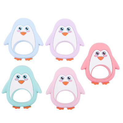 Silicone Baby Infant Teething Toy Necklace Pendant Penguin Shaped Teether Z