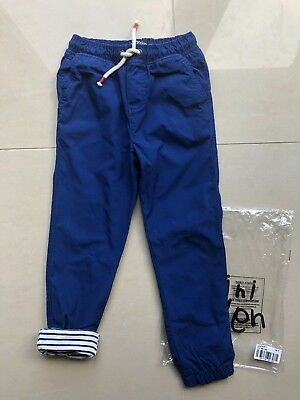 BNWT Mini Boden Boys Blue Lined Pull On Utility Trousers - Age 6 (5-6) 22474
