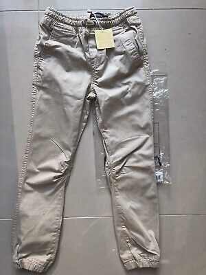 NEW Boys Mini Boden Tan Chino Trousers Age 7 (6-7) BNWT Slouch Trousers