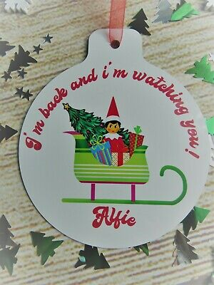 "Personalised Elf On Sleigh  Christmas Tree Bauble  "" Im Back"" Any Name"