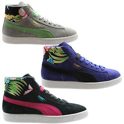Details zu Puma Suede Mid Womens Trainers Hi Top Shoes Leather Pink Lace Up 355460 02 D51