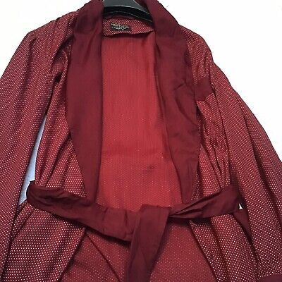 MENS LONG VINTAGE SILKY SMOkING JACKET DRESSING GOWN 1940s 1950s made in england