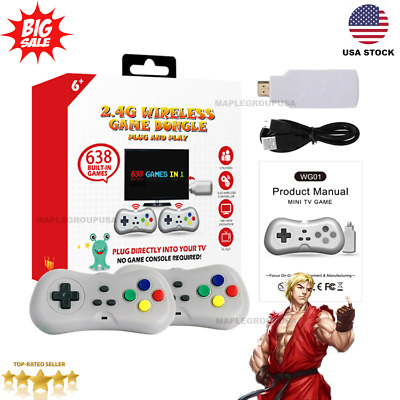 638 Games Built-in Classic 2.4G Wireless Controller HDMI Game Console Dongle