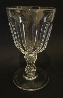 Antique Mid 19th Century Val St Lambert Large Wine / Water Glass Bubble in Stem