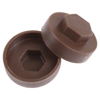 Pack of 50 Vandyke BROWN HEX CAPS 16mm Washer Size Protect/Cover Bolt/Nut Head