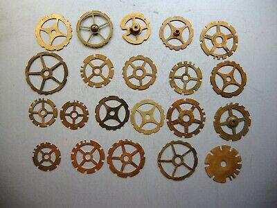 21 x Antique Solid BRASS GEARS PARTS ART Steampunk Collage GUSTAV BECKER GB c4