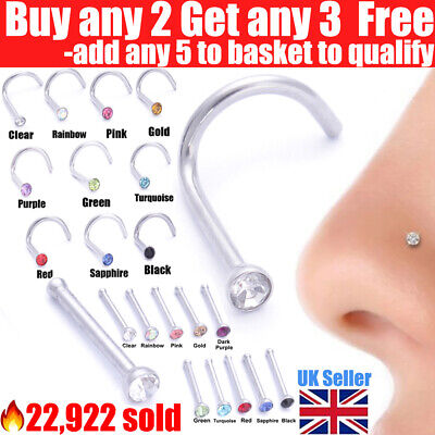 Nose Studs Surgical Steel Screw Straight Nose Stud Piercing Pin Gem Stud Ring