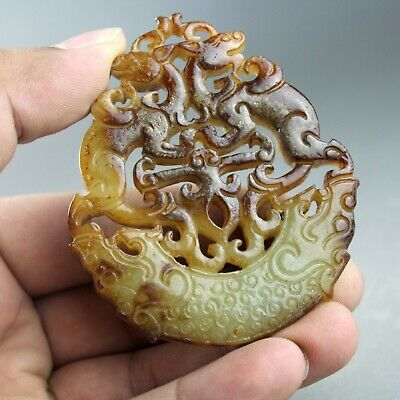 3'' China old Hetian jade Chinese hand-carved ancient dragon jade pendant 1325