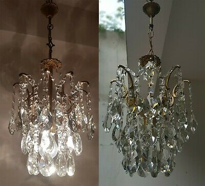 Matching  Pair of Antique Vintage Brass & Crystals Small Chandelier Ceiling Lamp