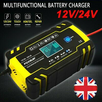 LCD 8 Amp Intelligent Car Battery Charger Pulse Repair Starter 12V/24V AGM/GEL